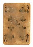 Ancient used playing card of clubs with number 9 Stock Images