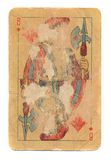 Ancient used rubbed playing card jack of diamonds paper background Stock Photography