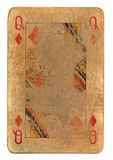 Ancient used rubbed playing card queen of diamonds paper background. Isolated on white Stock Image
