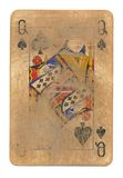 Ancient used rubbed playing card queen of spades paper background isolated. On white Stock Image