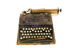 Ancient used typewriter isolated on white Royalty Free Stock Photo