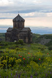 Ancient Vahramashen Church of Amberd complex on green hill Stock Photos