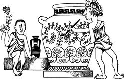 Ancient vase painter Royalty Free Stock Photography
