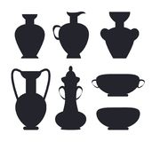 Ancient Vases Black Silhouettes Isolated Vector royalty free illustration