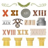 Ancient vector historical antique architecture of rome empire and roman numbers illustration ancientry set of historic. Vintage column or pillar and numeral Stock Photos
