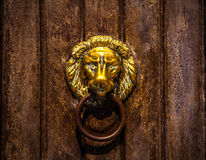 Ancient Venetian door with old door knob close-up Stock Photography