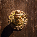 Ancient Venetian door with old door knob close-up Stock Image