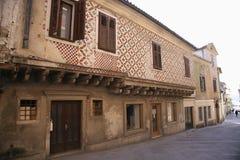 Ancient Venetian House. Koper Capodistria, Slovenia: ancient venetian architecture in a house in the city of Koper Capodistria in Istria stock image