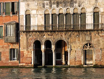 Ancient Venetian Palace. Old palace in Venice just near the channel (Italy Stock Images