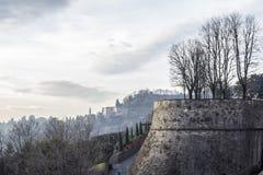 Ancient venetian walls, historic area Citta Alta of Bergamo,Lom. Bardy,Italy royalty free stock photo