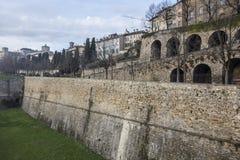 Ancient venetian walls, historic area Citta Alta of Bergamo,Lom. Bardy,Italy stock photo