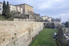 Ancient venetian walls, historic area Citta Alta of Bergamo,Lom. Bardy,Italy stock image