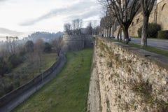 Ancient venetian walls, historic area Citta Alta of Bergamo,Lom. Bardy,Italy royalty free stock photography