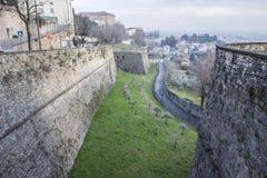 Ancient venetian walls, historic area Citta Alta of Bergamo,Lom. Bardy,Italy stock photos
