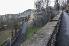 Ancient venetian walls, historic area Citta Alta of Bergamo,Lom. Bardy,Italy stock photography