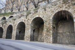 Ancient venetian walls, historic area Citta Alta of Bergamo,Lom. Bardy,Italy royalty free stock image