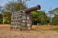 Ancient and very old cannon used in the war in old city of India. Picture of a ancient and very old cannon used in the war in old city of India royalty free stock photography