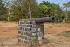 Ancient and very old cannon used in the war in old city of India. Picture of a ancient and very old cannon used in the war in old city of India stock image