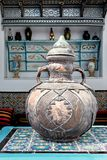 Ancient vessel ornamented, is in the Museum. stock image