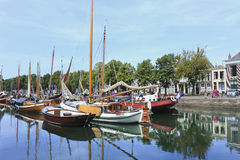 Ancient vessels in a harbour, Zierikzee, Holland royalty free stock image