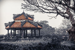 Ancient vietnamese temple with dragons on top Stock Photos