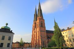Ancient view on the old cathedral. Uppsala, Sweden, Europe. Beautiful backgrounds royalty free stock photos
