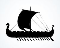 Ancient Viking ship. Vector drawing. Archaic past century wood oar galleon for merchant trading or colonization isolated on white background. Dark ink hand drawn royalty free illustration