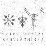 Ancient Viking Symbols With Letters Stock Photo