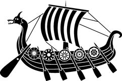 Ancient vikings ship. With shields stencil Stock Photography