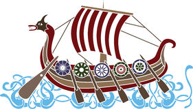 Ancient vikings ship. With shields stencil  colored variant Stock Photo