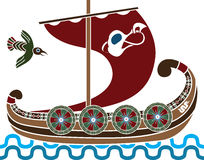Ancient vikings ship. With shields stencil colored variant Royalty Free Stock Photography