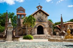 Ancient village Altos de Chavon - Colonial town reconstructed in Dominican Republic. Casa de Campo, La Romana. Ancient village Altos de Chavon - Colonial town stock photography