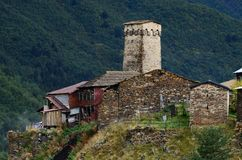 Ancient village with generic fortified tower,Svaneti mountains,Georgia Royalty Free Stock Photo