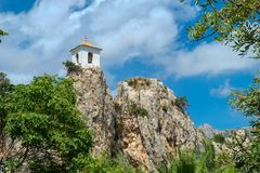 The Ruins and restored structures of Castillo de Guadalest, Spain Stock Images
