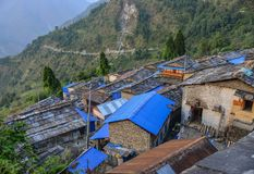 Ancient village on the hill in Nepal royalty free stock photography