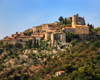 Ancient Village on Hill in Southern France Royalty Free Stock Images