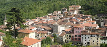 Ancient village in Liguria region of Italy Stock Photo