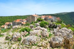 Ancient village of Lubenice on Cres Royalty Free Stock Photo