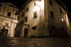 Ancient village by night. Night view of a traditional village on italian alps, Borgo Valsugana Royalty Free Stock Photos