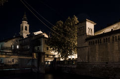 Ancient village by night. Night view of a traditional village on italian alps, Borgo Valsugana Royalty Free Stock Photography