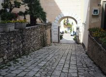 The ancient village of San Felice Circeo in central Italy. Entrance door in the historic center of the village San Felice Circeo. Lazio Region, central Italy stock photography