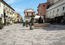 The ancient village of San Felice Circeo in central Italy. Piazza Vittorio Veneto in the historic center of the village San Felice Circeo. Lazio Region, central royalty free stock photo