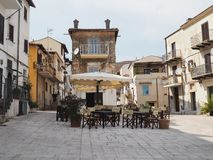 The ancient village of San Felice Circeo in central Italy. Restaurant called tavern in the historic center of the village San Felice Circeo. Lazio Region royalty free stock photography