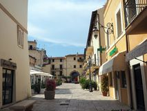 The ancient village of San Felice Circeo in central Italy. Typical medieval architecture in the historic center of the village San Felice Circeo. Lazio Region stock photo