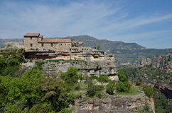 Ancient village Siurana on the top of the mountain Stock Image