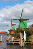 Ancient village  with windmills and the channel Stock Photo