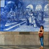 Ancient vintage azulejos picture in the old Sao Bento Railway Station of Porto. PORTO, PORTUGAL - OCT 31, 2016: Ancient vintage azulejos picture in the old Sao Stock Photo