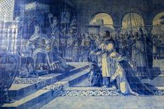 Ancient vintage azulejos picture in Porto Sao Benro railway station, Porto. Stock Photo