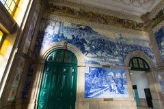Ancient vintage azulejos picture in Porto Sao Benro railway station, Porto Royalty Free Stock Photo