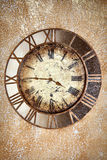 Ancient vintage clock on grunge wall Royalty Free Stock Photography
